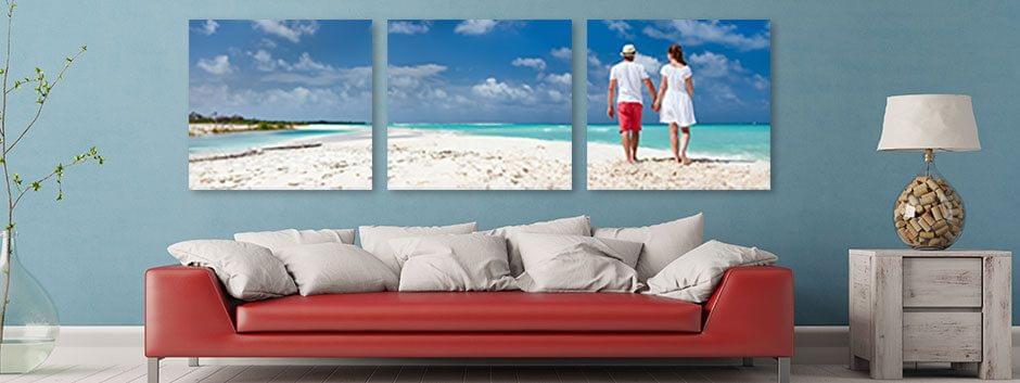 Verdeel uw foto in meerdere delen en hang de individuele doeken op