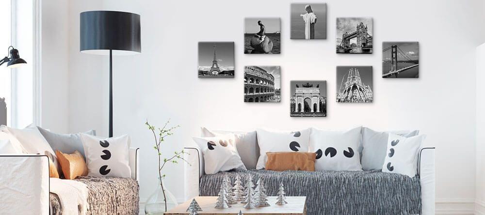 Denk aan een geometrische vorm op de muur en hang uw foto's erin