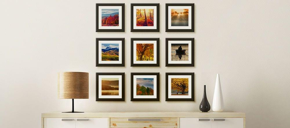 Pictures of the same size equidistant in a clean grid - a real eye catcher!