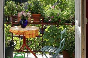 Decoratieve zichtwering door balkon planten