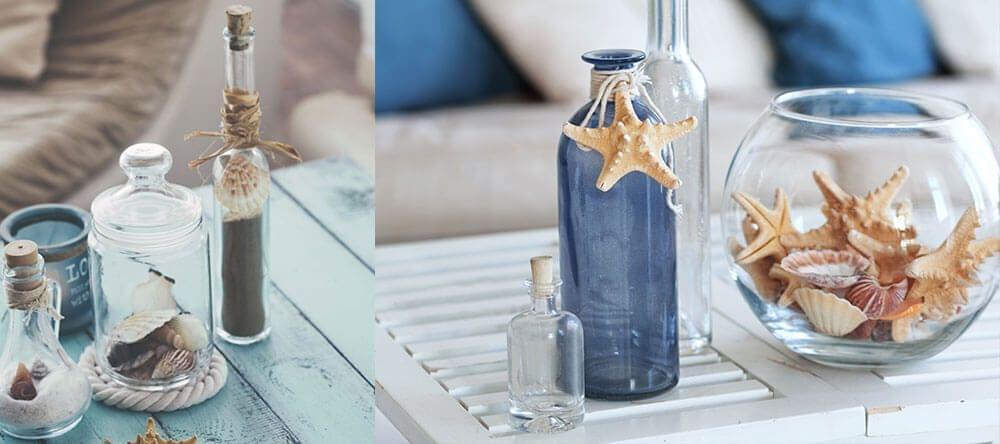 Kleine flesjes, schalen en schelpen zijn goedkoop en hebben een groot effect