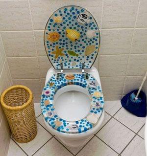 Toiletzittingen met motief zijn out