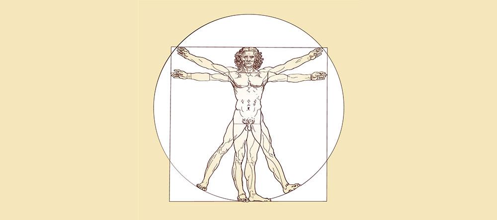Vitruviusman door Leonardo da Vinci