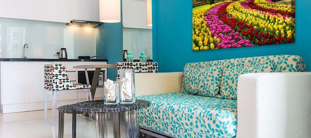 Met blauw en wit kan je in je huis relaxeren