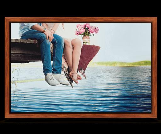 foto canvas premium kader palissander optiek voorzijde