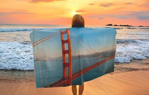 personalised photo towel as beach towel