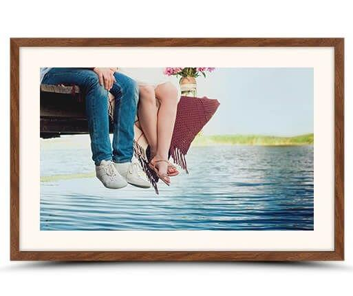 photo print with walnut flair frame front view