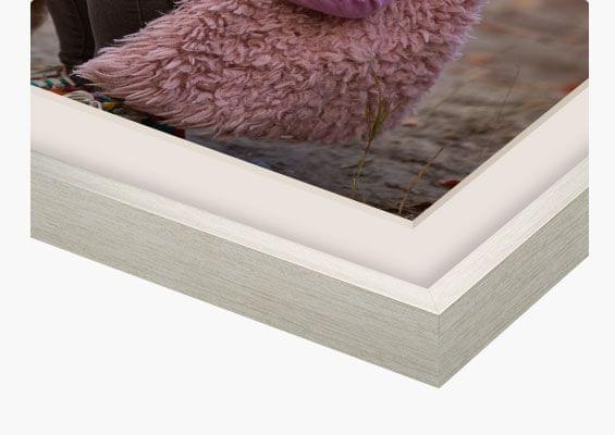 framed prints in silver frame closeup front