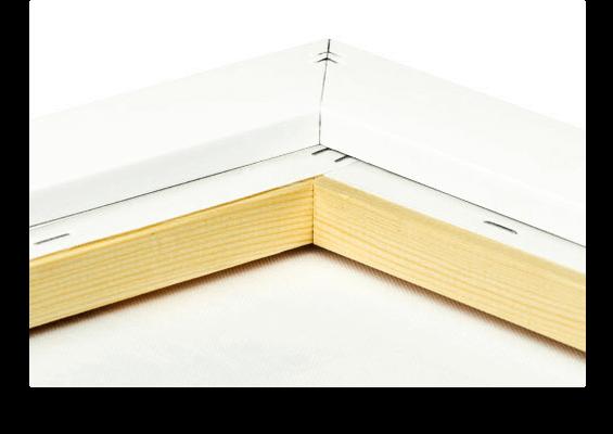 canvas print in white frame closeup back