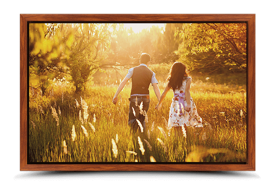 canvas print in brown frame fullview