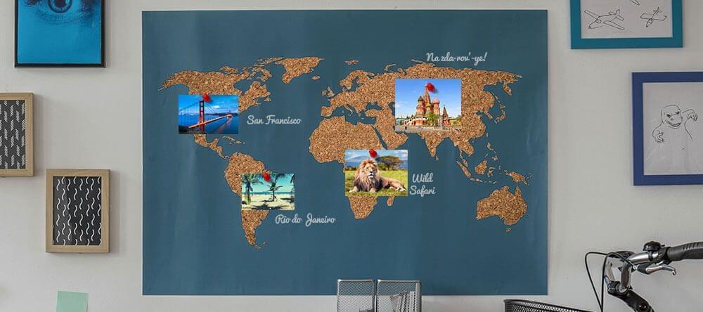Un lugar para los recuerdos. Tu tablón de notas de corcho con forma de mapamundi.