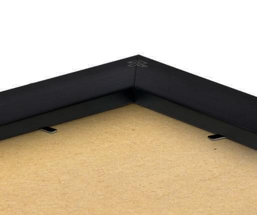 inramat foto svart stoft detaljer baksida