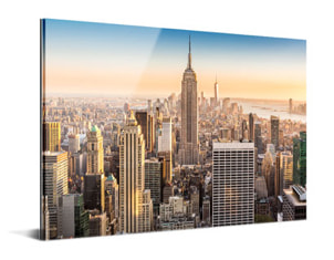 acrylic and metal print showing photo of Manhattan skyscrapers