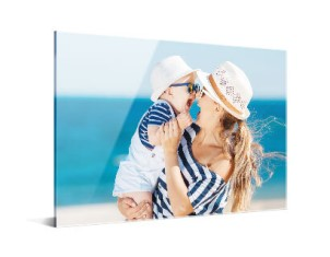 acrylic print showing photo of woman and baby on beach