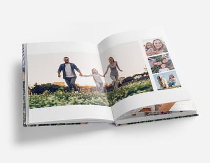 photo book showing photos of man, woman and girl