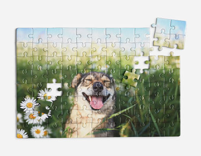 jigsaw puzzle printed with photo of dog among flowers