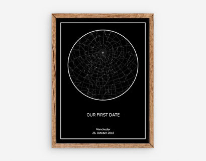 black star map with text in wooden frame