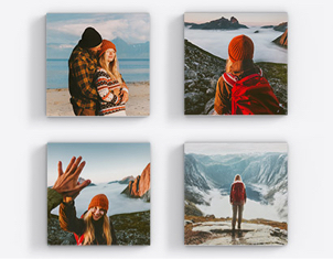 four photo prints showing man and woman in wintery terrain