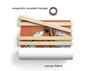 canvas wall hanging with magnetic wooden bars