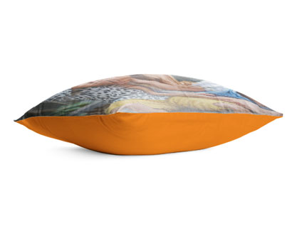 side view of cushion with photo print on top side