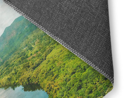 rug printed with photo of forest