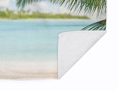 towel printed with photo of beach
