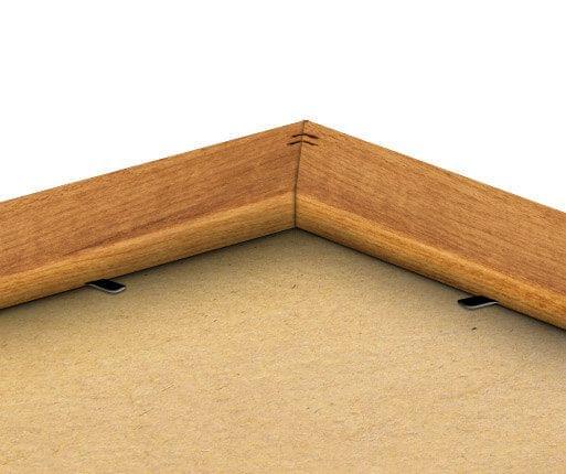 photo in oak finish frame back view