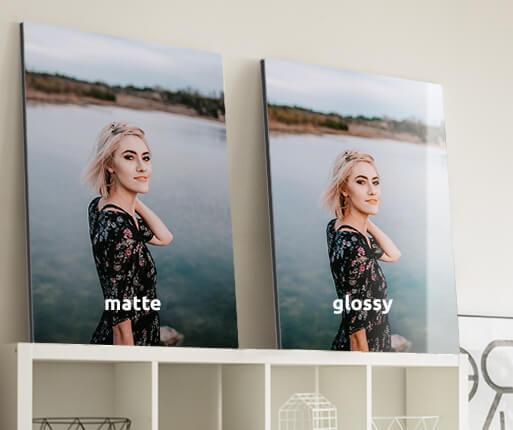 aluminium photo prints in the room