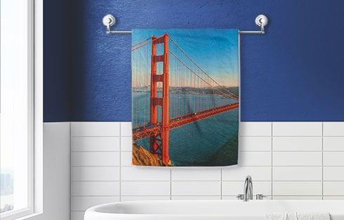personalised photo towel as bath towel