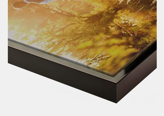 canvas print in black-glossy frame closeup front