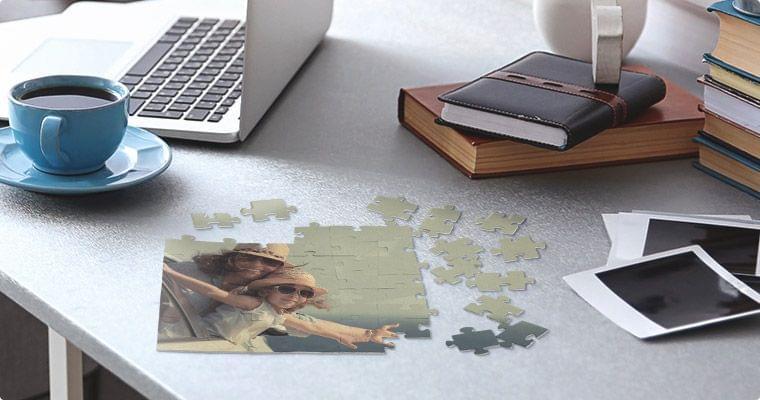 foto auf puzzle ansicht im raum