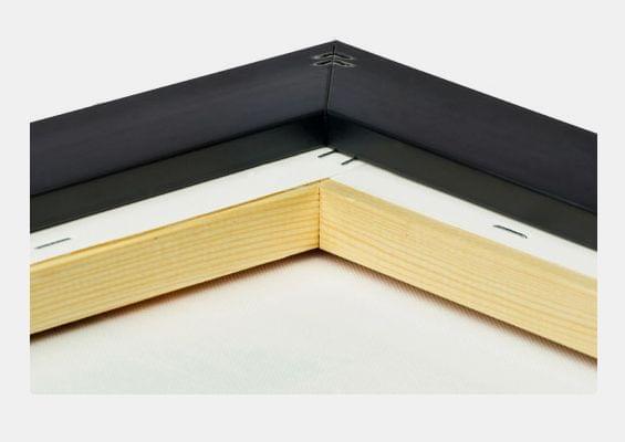 canvas print in black-glossy frame closeup back
